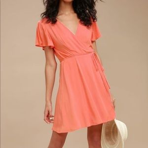 Lulu's NWT harbor point wrap dress coral pink